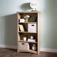 9064767 Rustic Oak 4-Shelf Bookcase - Gascony
