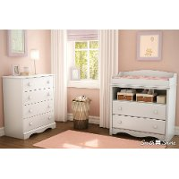 3680A2 White Changing Table and 4-Drawer Chest Set - Angel