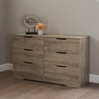9075010 Weathered Oak 6-Drawer Double Dresser - Holland