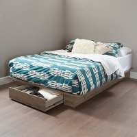 9075215 Weathered Oak Full/Queen Platform Bed with Drawer (54/60 Inch) - Holland