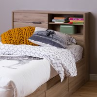 10092 Rustic Oak Twin Storage Headboard - Fynn