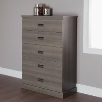 10118 Gray Oak 5-Drawer Chest - Gloria