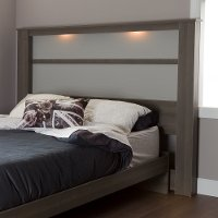10121 Gray Oak King Headboard with Lights - Gloria