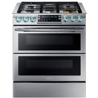 NX58K9850SS Samsung Double Oven Gas Range with Blue LED Illuminated Knobs - 5.8 cu. ft. Stainless Steel