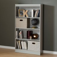 10136 Soft Gray 4-Shelf Bookcase - Axess