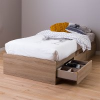 9067212 Rustic Oak Twin Mates Bed with 3 Drawers (39 Inch) - Fynn