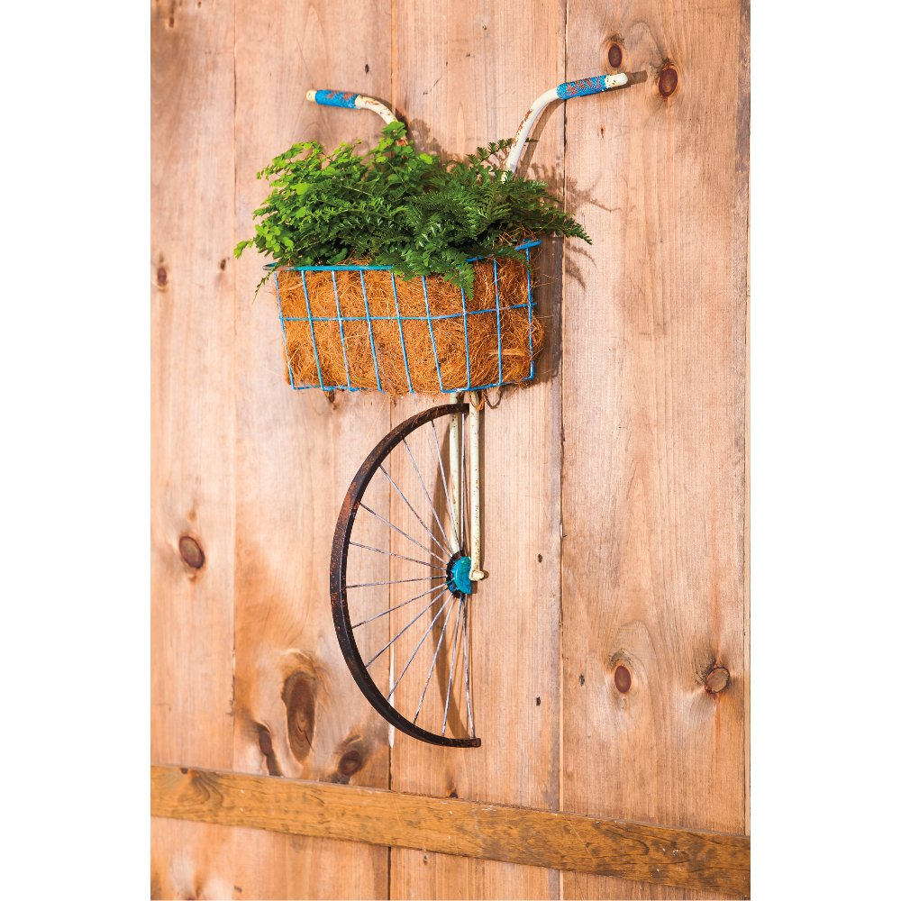 front basket metal bicycle wall decor and planter rc willey