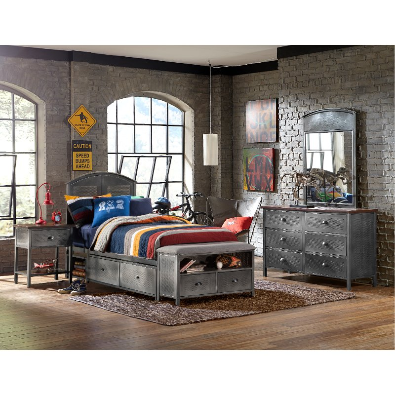 Twin Panel Storage Bed with Storage Bench - Urban Quarters