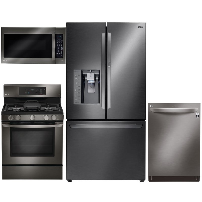Lg 4 Piece Kitchen Liance Package With Gas Range Black Stainless Steel Rc Willey Furniture