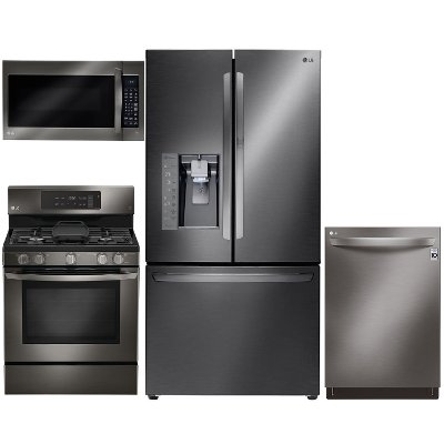 lg black stainless steel 4 piece gas kitchen appliance package