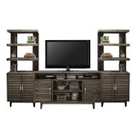 Brown TV Console with Left and Right Piers - Avondale Collection
