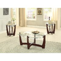 Glass Top & Cherry 3 Piece Coffee Table Set - Vasily
