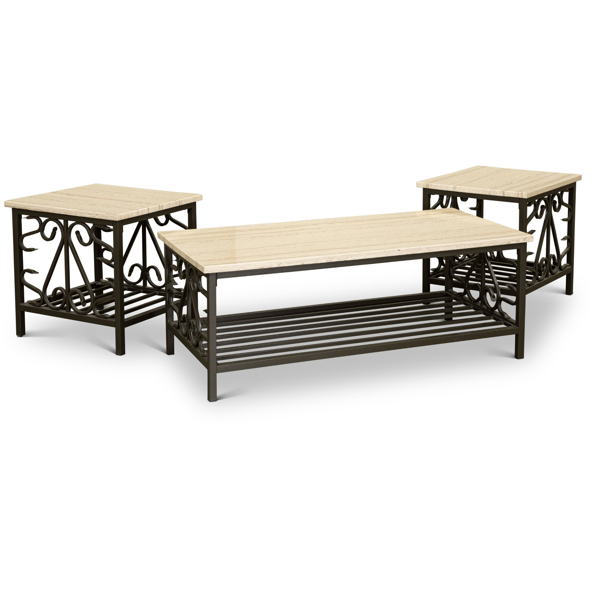 Marble top 3 piece coffee table set living room table for 3 piece living room table sets