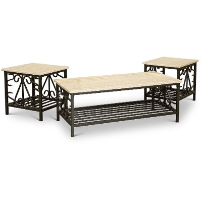 marble top 3 piece coffee table set fairhope