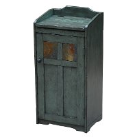 Sage Trash Bin with Slate Accents