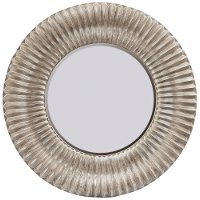 Round Distressed Wood Framed Mirror