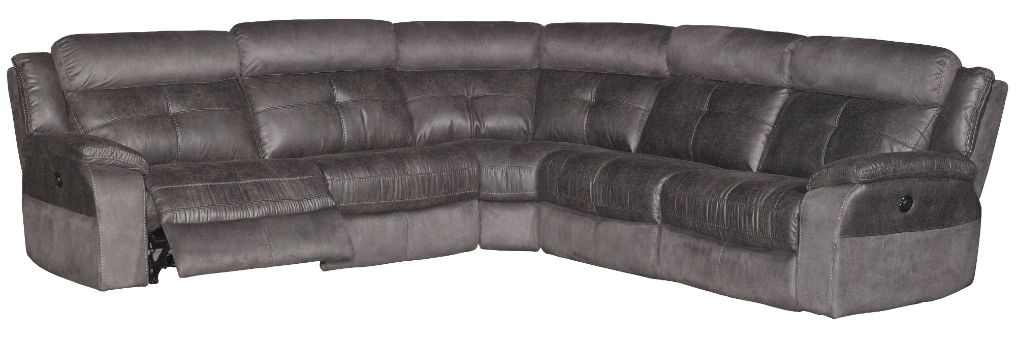 Gray Microfiber 5-Piece 3x Power Reclining Sectional - Denver  sc 1 st  RC Willey : rc willey sectional - Sectionals, Sofas & Couches