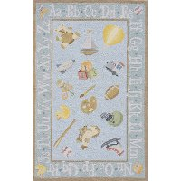 4 x 6 Small Baby Toys Blue Rug - 'Lil Mo Classic