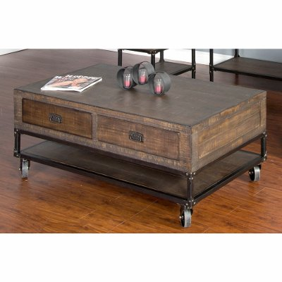 rustic brown coffee table on wheels - homestead | rc willey
