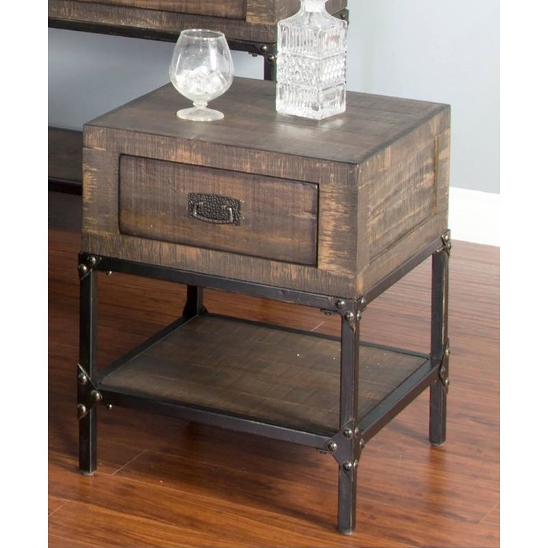 Distressed Rustic Brown End Table Homestead Collection