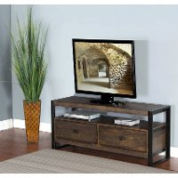 64 Inch Distressed Medium Brown TV Stand - Homestead