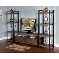 Rich Brown 3 Piece Rustic Mid-Size Entertainment Center - Homestead