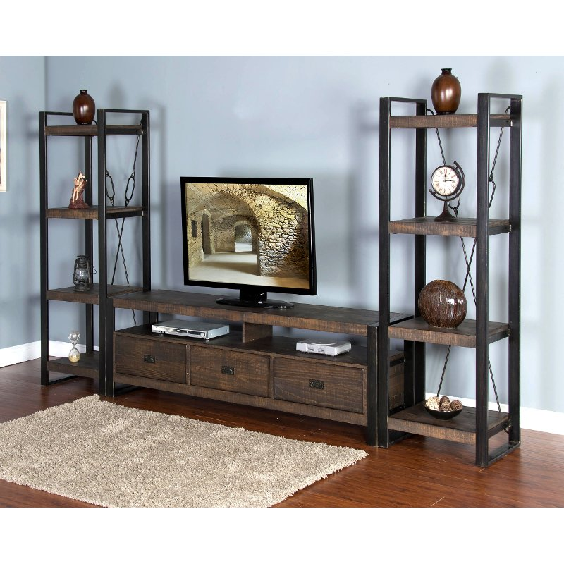 Rich Brown 3 Piece Rustic Large Entertainment Center Homestead