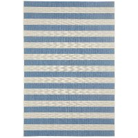 8 x 11 Large Striped Capri Blue Indoor-Outdoor Rug - Finesse