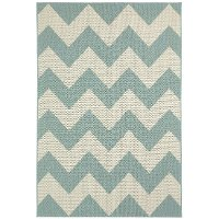 4 x 6 Small Chevron Spa Blue Indoor-Outdoor Rug - Finesse