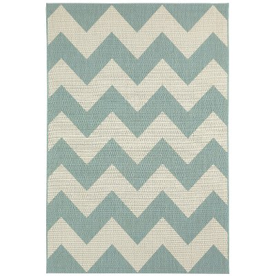 8 X 11 Large Chevron Spa Blue Indoor Outdoor Rug   Finesse
