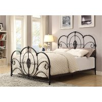 Brighton Black Traditional Queen Metal Bed