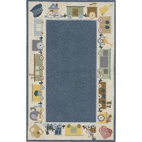 4 x 6 Small Choo Choo Train Blue Rug - Classic Train