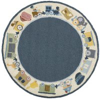 5' Round Choo Choo Train Blue Rug - Classic Train