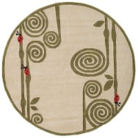 5' Round Curly Fern Ivory and Green Area Rug - Whimsy Garden