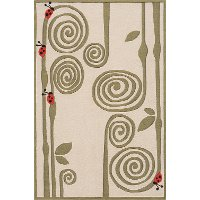 5 x 7 Medium Curly Fern Ivory and Green Area Rug - Whimsy Garden