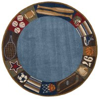 5' Round All Star Denim Blue Rug - Whimsy