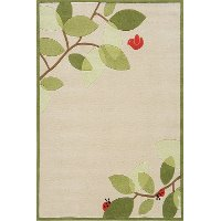 4 x 6 Small Modern Birdie Ivory and Green Area Rug - Whimsy Garden