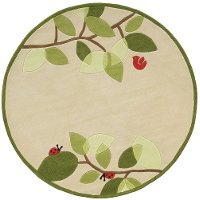 5' Round Modern Birdie Ivory and Green Area Rug - Whimsy Garden
