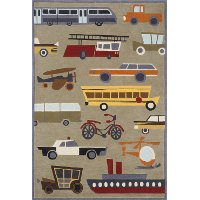 4 x 6 Small Transportation Concrete Tan Area Rug - Whimsy