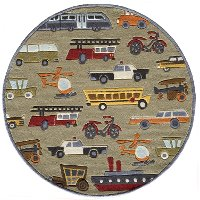 5' Round Transportation Concrete Tan Area Rug - Whimsy