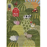 4 x 6 Small Farmland Green Area Rug - Whimsy