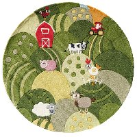 5' Round Farmland Green Area Rug - Whimsy