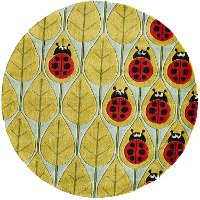 5' Round Ladybug Red and Green Area Rug - Whimsy Garden