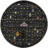 5' Round Arcade Game Black Area Rug - Whimsy