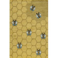 4 x 6 Small Honeycomb Gold Area Rug - Whimsy