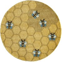 5' Round Honeycomb Gold Area Rug - Whimsy