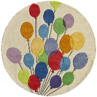 5' Round Multi-Colored Balloons Area Rug - Whimsy