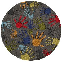 5' Round Finger Paint Gray Area Rug - Whimsy