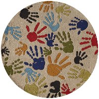 5' Round Finger Paint Ivory Area Rug - Whimsy
