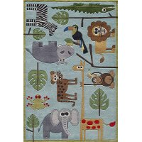 4 x 6 Small Safari Blue Rug - Whimsy